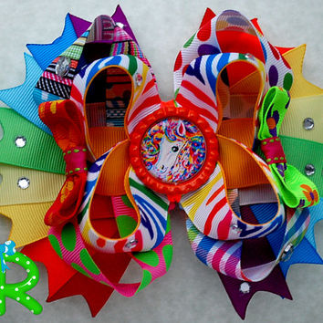 Lisa Frank Inspired hair bow, Lisa Frank Rainbow Unicorn  bow, girls hair bow, boutique layered bow