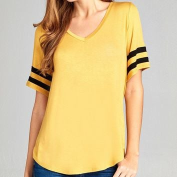 Sporty Double Stripe Sleeve V-neck Top + 8 Colors