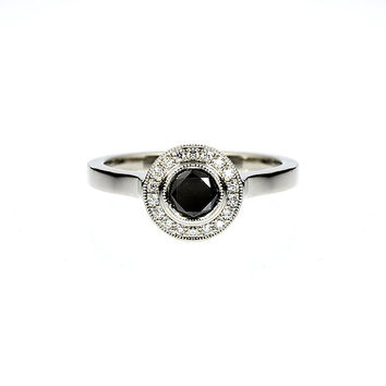 0.50ct Black diamond halo engagement ring, white gold ring, black diamond ring, diamond halo, unique, mil grain ring, gothic engagement