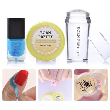 BORN PRETTY Nail Stamping Tool Set Clear Stamper Nail Polish Remover Pads 6ml Peel Off Liquid Tape Nail Decoration
