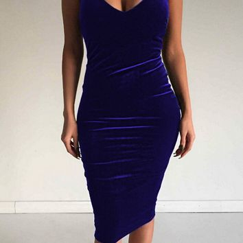 Velvet Deep V Neck Backless Women Cocktail Evening Dress Party Bodycon Dress