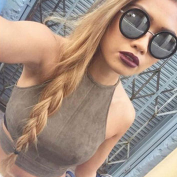 Fashion Solid Color Suede Sleeveless Crop Top Backless Halter Tight Zip Vest