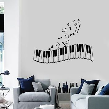 Vinyl Wall Decal Piano Musical Notes Music Art Living Room Decor Stickers Mural Unique Gift (ig5185)