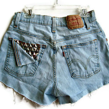 Pocket Studded Shorts High Waisted Levi by shortyshorts on Etsy