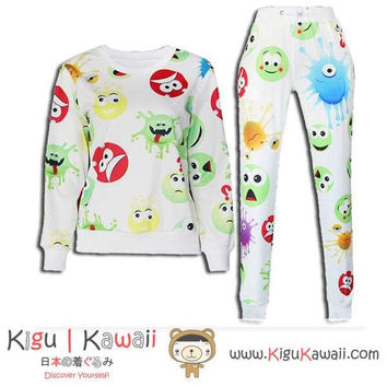 New Alien Faces Pattern Kawaii Style Round-Neck Sweater and Jogging Pants KK657