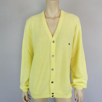 Vintage 1970s Izod Lacoste Lemon Yellow Cardigan Sweater 70s Golf Tennis Preppy Boyfriend Alligator mens XL womens unisex emo hipster