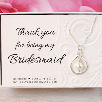 Thank you gift for bridesmaid thank you sterling silver Swarovski pearl necklace, thank you for being my Bridesmaid gift box, wedding party