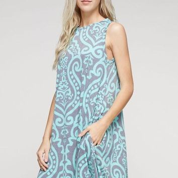 Summer Swing Dress - Mint and Gray Damask
