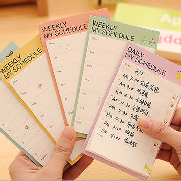 Weekly/Daily Planner Sticker Sticky Notes Memo Pad Schedule Check List Lovely TC