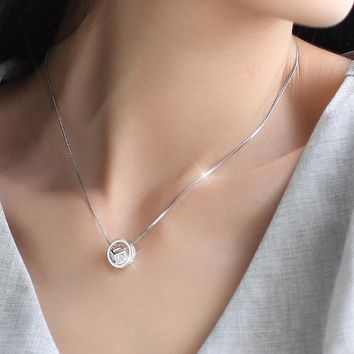 925 Sterling Silver Circle Cube Necklaces & Pendants For Women Fashion Lady Cubic Zirconia Sterling-silver-jewelry