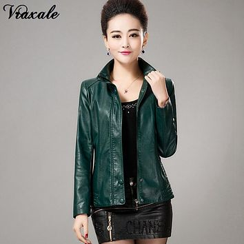 Women's leather jacket 2017 spring and autumn new arrival women short paragraph Slim coat temperament ladies leather jacket 5XL