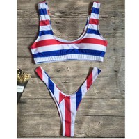 Red blue white stripe splicing vet type two piece bikini bottom v shape swimsuit