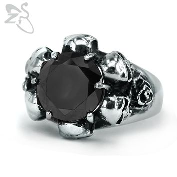 ZS White Black Crystal Stone Ring Men Stainless Steel Gothic Finger Ring for Mens Hip Hop Punk Male Ring Biker Jewelry