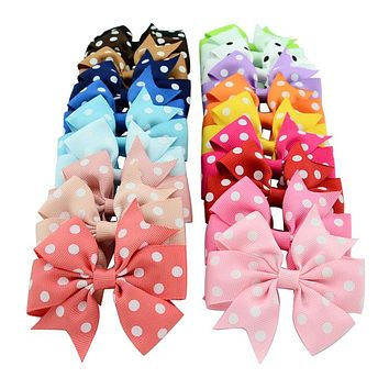 20Pcs/lot 3 Inch Polka Dot Grosgrain Ribbon Bows Clips With Alligator clip Boutique Kids Girls Bow tie Hair Accessorises592