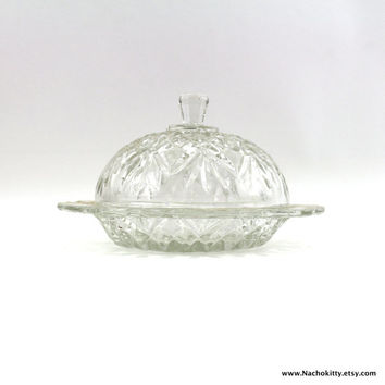 1940s Butter Dish, Round Pattern Glass Covered Dish