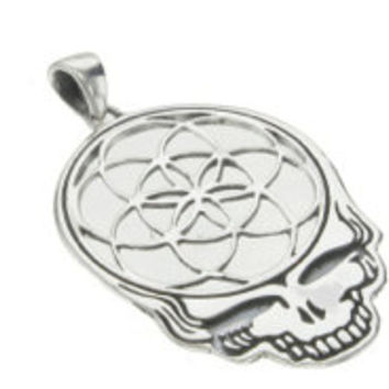 Sterling Silver Steal Your Face with Sacred Geometry Seed of Life Pendant- Small