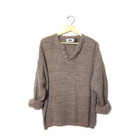 Vintage henley sweater. brown oatmeal boyfriend sweater. Button front sweater. oversized baggy textured sweater Loose fit pullover. Mens XXL