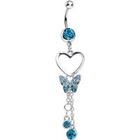 Aqua Crystal In Love with Butterflies Dangle Belly Ring | Body Candy Body Jewelry