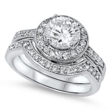 Sterling Silver CZ Halo 1 carat Vintage Style Pave Wedding Ring Set 5-10