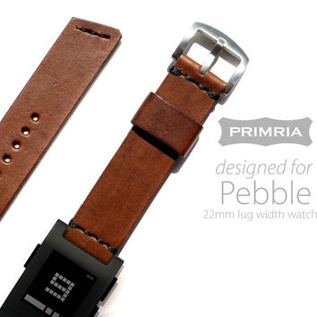 22mm Leather Strap for Pebble / LG G Watch / moto 360 - Coffee Brown