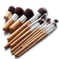 EmaxDesign 11 pcs Premium Quality Bamboo Cosmetic Makeup Brush Set with Bag
