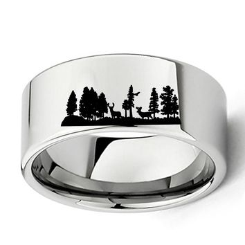 Men's White Tungsten Carbide Deer Hunting Outdoors Wedding Band