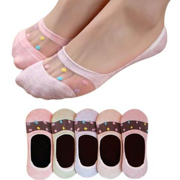 2017 Fashion Women Candy Colors Lace Socks Women Footprints Cotton Socks High Quality Applique Floor Socks