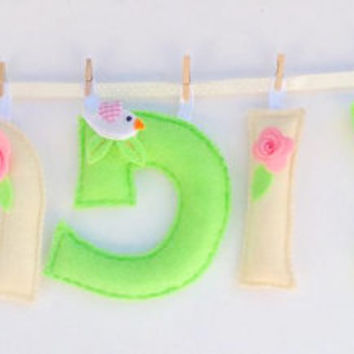 Hebrew Girl Name Banner, Jewish Baby Girl Name Gift, Jewish Gift, Hebrew Letters, Rosh Hashanah Gift, Colors: Green and Ivory