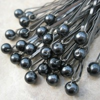 Dark Grey Pearl Hair Pins - Black Swarovski Pearls (set of 25 wedding bobby pins)
