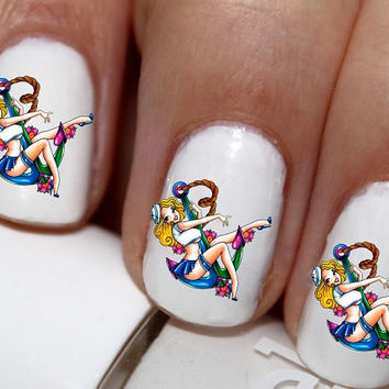 20 pc  Pin Up Girl Navy Girl 50s Pin Up Girl Pinup Girl Anchor  Love Nail Art Nail Decals #cg3014na