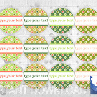 Type Your Text Green Round Label, editable label, green and multicolored dots, printable party favor tag, gift wrap, jar decor, download
