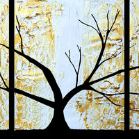 """ARTFINDER: The Tree of Sanctuary original painting extra large art triptych tree 3 panel wall art metallic gold copper white 3 panel canvas abstract 48 x 20 """" by Stuart Wright - """" The Tree of Sanctuary """"  3 piece canvas art..."""