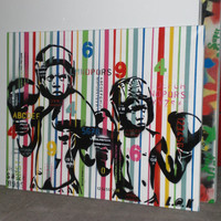 boxer kids custom painting,stencil art on canvas,urban art,pop,numbers,letters,choose colours,stripes,boxing,culture,wall art,cuban,fighters