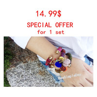 1 Set 3 Piece (1 bell and 2 normal bracelet)  you can select and inform me in convo Yarn Bracelet Boho Bracelet boho Bangles Hippie Bracelet