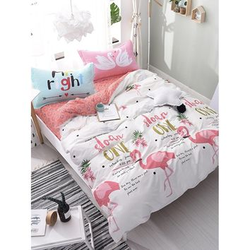 4Pcs Flamingo & Letter Print Duvet Cover Set