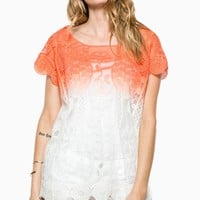 HARLOW LACE TOP IN CORAL