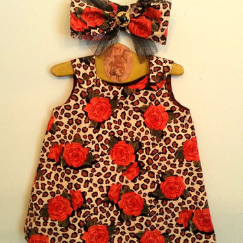 Reversible dress, Size 6 to 12 months, baby dress headband set, reversible baby jumper, fall autumn baby dress, first Thanksgiving dress