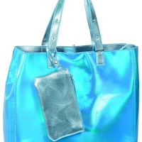 Metallic Blue Iridescent Studded Large Tote Bag Purse w/ Wristlet