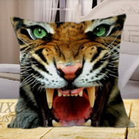 Tiger Face on Square Pillow Cover