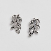 DesignB London Silver Leaf Stud Earrings at asos.com