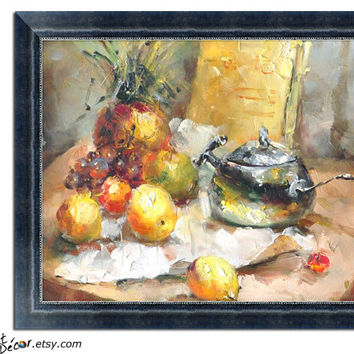 Original Art, Textured Stll Life Oil Painting, Canvas Painting, Fruit and Wine Art, Dinning Room Decor, Kitchen Wall Art