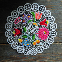 Hungarian folk embroidery tablecloth, small floral lace doily, small Kalocsa riselt tablecloth