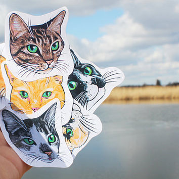 Set of 12 Small Cat Stickers