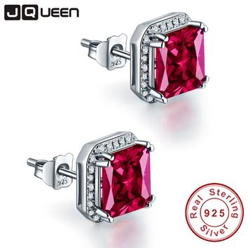 JQUEEN 3Ct Ruby Red Earrings Princess Cut 925 sterling silver earrings bijoux wedding earrings vintage stud earrings