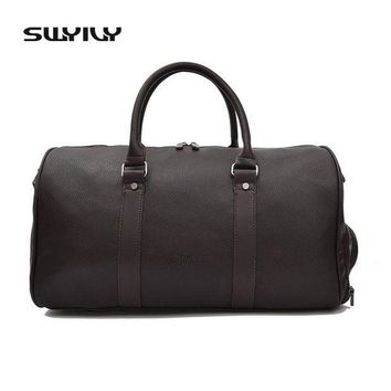 ICIKUH3 SWYIVY Men's Large Capacity PU Leather Sports Bag Gym Bag Fitness Sport Bags Duffel Tote Travel Shoulder Handbag Male Bag