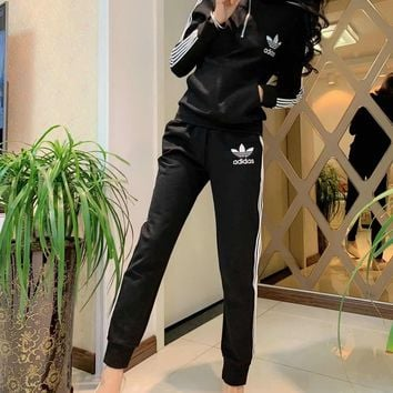 """ Adidas"" Women Casual Fashion Stripe Long Sleeve Zip Upright Neck Hoodie Trousers Set Two-Piece Sportswear"
