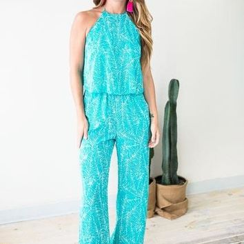 All Year Long Turquoise Palm Jumpsuit