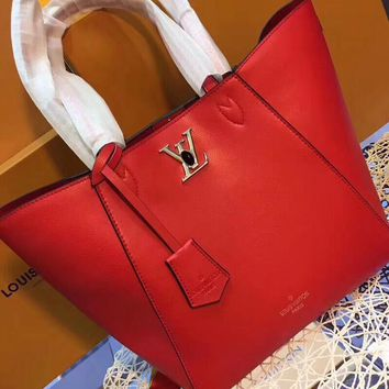 DCCK  L030 Louis Vuitton LV Particles Taurillon calfskin handbag 43-28-17cm Red