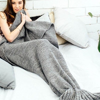 Soft Comfortable Knitted Mermaid Sofa Blanket Winter Spring Warm +Christmas Gift -Necklace
