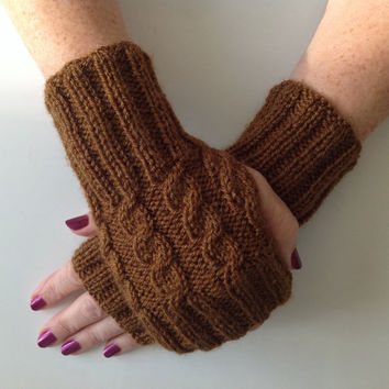 Ladies Chestnut Brown Cable Stitch Hand Warmers. Hand knitted in Scotland.